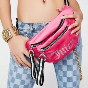 Juicy Couture Pink Velour Fanny Pack